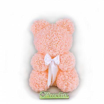 Мишка из роз 40 см персиковый