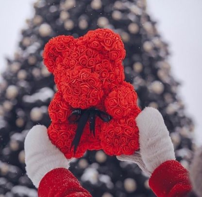 подарок на 14 февраля мишка из роз красный