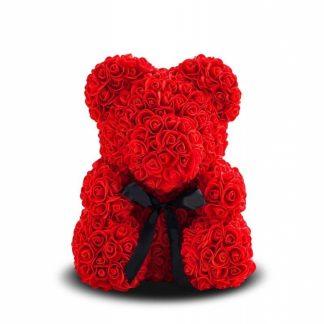 мишка из красных роз