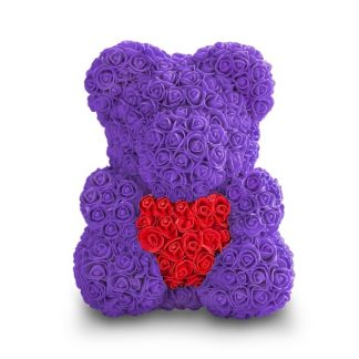 фиолетовый мишка из роз с сердцем купить