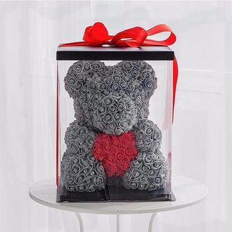серый мишка из роз с сердцем купить