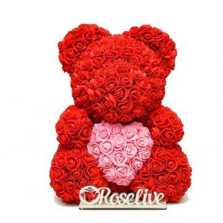 красный мишка из роз подарок девушке