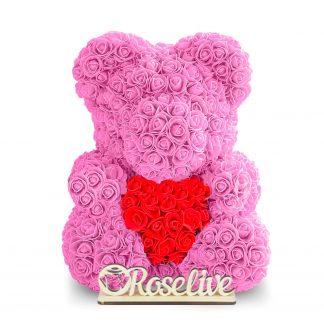 мишка из роз розовый где купить