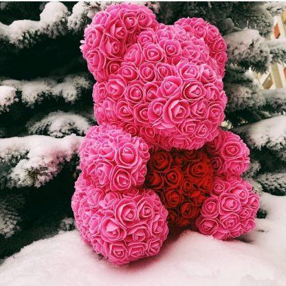 мишка из роз розовый с сердцем