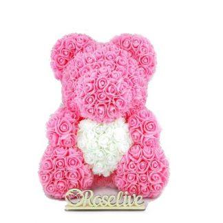 3д мишка из искусственных роз с сердцем или бантом