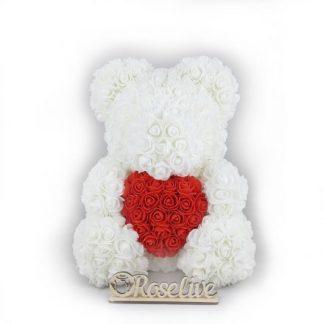 белый мишка из роз подарок девушке