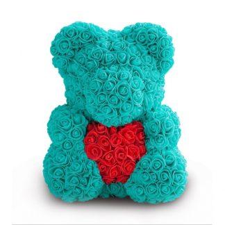 бирюзовый мишка из роз с сердцем купить