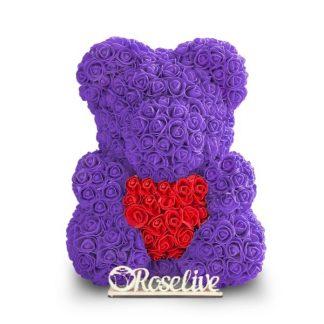 фиолетовый мишка с сердцем из роз