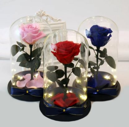 Роза в колбе с подсветкой гирляндой