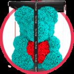 бирюзовый мишка из роз с сердцем в коробке