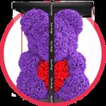 фиолетовый мишка из роз с сердцем в коробке