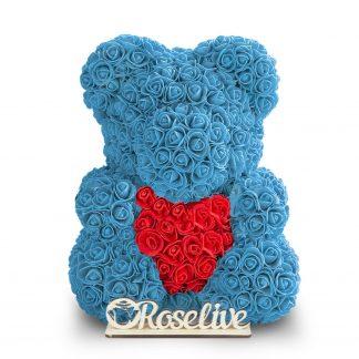 голубой мишка из роз с сердцем