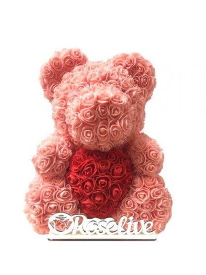 персиковый мишка из роз купить киев