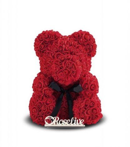 бордовый мишка из роз подарок девушке