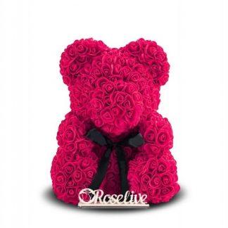 малиновый мишка из роз купить 40 см