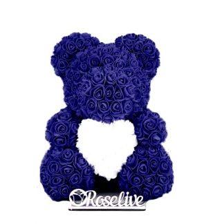 синий мишка из роз с сердцем