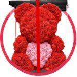 красный мишка из роз с сердцем в коробке