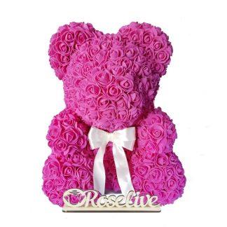 мишка из роз малиновый с белым бантом подарок на день рождения