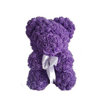фиолетовый мишка из роз 25 см