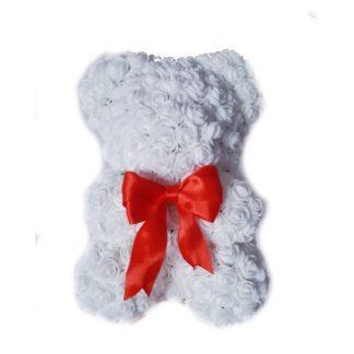 белый мишка из роз 25 см