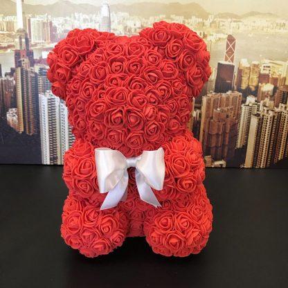 мишка из роз 25 см красный