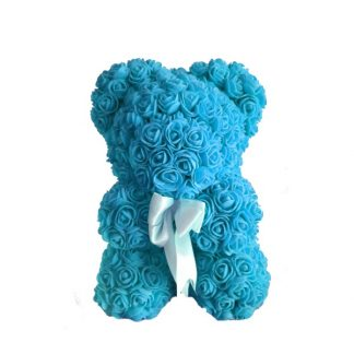 голубой мишка из роз 25 см купить